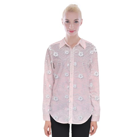 Sweet Flowers In Soft  Pink Womens Long Sleeve Shirt by TimelessFashion