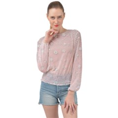 Sweet Flowers In Soft  Pink Banded Bottom Chiffon Top by TimelessFashion
