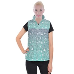 Sweet Flowers In Turquoise Women s Button Up Vest by TimelessFashion