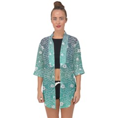 Sweet Flowers In Turquoise Open Front Chiffon Kimono by TimelessFashion