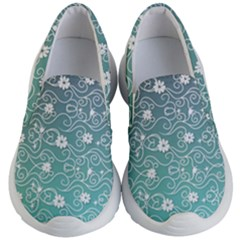 Sweet Flowers In Turquoise Kids  Lightweight Slip Ons by TimelessFashion