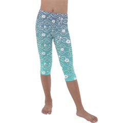 Sweet Flowers In Turquoise Kids  Lightweight Velour Capri Leggings  by TimelessFashion
