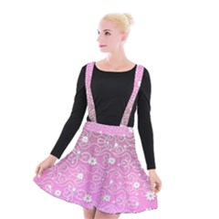Sweet Flowers In Pink Suspender Skater Skirt by TimelessFashion