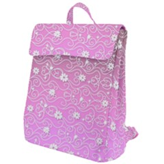 Sweet Flowers In Pink Flap Top Backpack