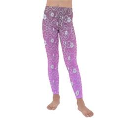 Sweet Flowers In Pink Kids  Lightweight Velour Leggings by TimelessFashion