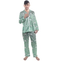 Sweet Flowers In Green Men s Satin Pajamas Long Pants Set by TimelessFashion