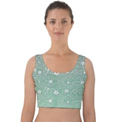 Sweet Flowers In Green Velvet Crop Top by TimelessFashion