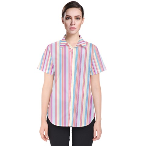 Sweet Stripes Women s Short Sleeve Shirt by TimelessFashion