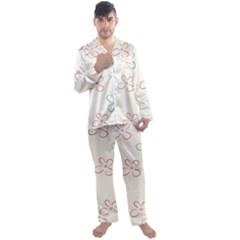 Sweet Flowers Men s Satin Pajamas Long Pants Set by TimelessFashion
