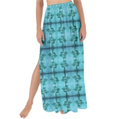 Cute Flowers Vines Pattern Pastel Turquoise Maxi Chiffon Tie Up Sarong