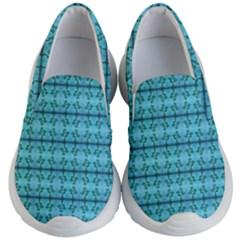 Cute Flowers Vines Pattern Pastel Turquoise Kids  Lightweight Slip Ons by BrightVibesDesign