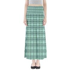 Cute Flowers Vines Pattern Pastel Green Full Length Maxi Skirt by BrightVibesDesign