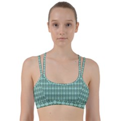 Cute Flowers Vines Pattern Pastel Green Line Them Up Sports Bra by BrightVibesDesign