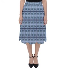 Cute Flowers Pattern Pastel Blue Classic Midi Skirt by BrightVibesDesign
