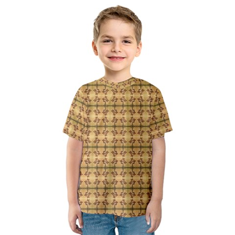 Cute Flowers Pattern Yellow Kids  Sport Mesh Tee by BrightVibesDesign