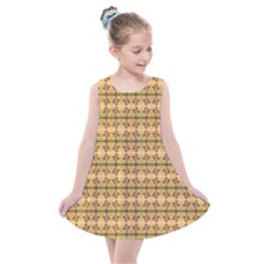 Cute Flowers Pattern Yellow Kids  Summer Dress by BrightVibesDesign