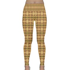 Cute Flowers Pattern Yellow Lightweight Velour Classic Yoga Leggings by BrightVibesDesign