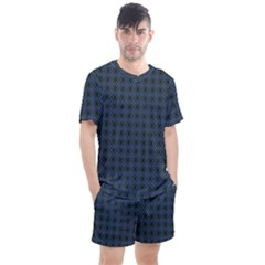 Argyle Dark Purple Black Pattern Men s Mesh Tee And Shorts Set by BrightVibesDesign