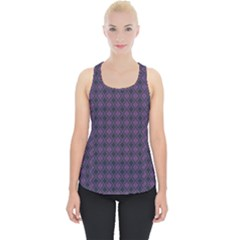 Argyle Dark Pink Black Pattern Piece Up Tank Top by BrightVibesDesign