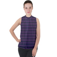 Argyle Dark Pink Black Pattern Mock Neck Chiffon Sleeveless Top by BrightVibesDesign