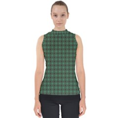 Argyle Dark Green Brown Pattern Mock Neck Shell Top by BrightVibesDesign