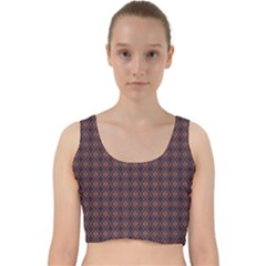 Argyle Dark Purple Yellow Pattern Velvet Racer Back Crop Top by BrightVibesDesign