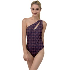 Argyle Dark Purple Yellow Pattern To One Side Swimsuit by BrightVibesDesign