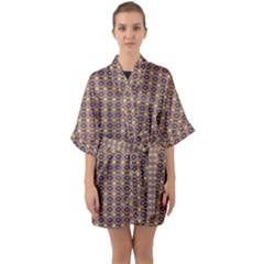 Ornate Oval Pattern Brown Blue Quarter Sleeve Kimono Robe by BrightVibesDesign