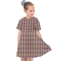 Ornate Oval Pattern Brown Blue Kids  Sailor Dress by BrightVibesDesign