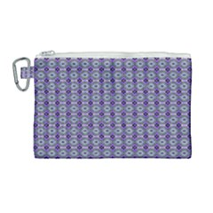 Ornate Oval Pattern Purple Green Canvas Cosmetic Bag (large)