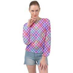 Faded Colors Banded Bottom Chiffon Top by TimelessFashion