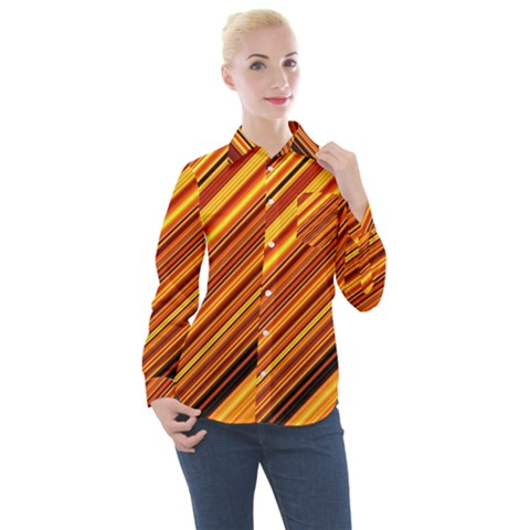 Diagonal Stripes 1 Women s Long Sleeve Pocket Shirt by TimelessFashion