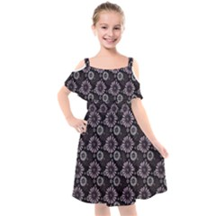 Flowers Delight Pink Kids  Cut Out Shoulders Chiffon Dress