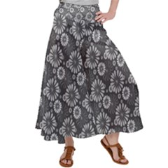 Flowers Delight In Grey Satin Palazzo Pants