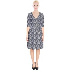 Flowers Delight In Grey Wrap Up Cocktail Dress by TimelessFashion