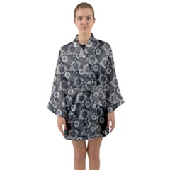 Flowers Delight In Grey Long Sleeve Kimono Robe by TimelessFashion