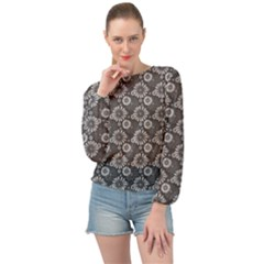 Flowers Delight In Grey Banded Bottom Chiffon Top by TimelessFashion