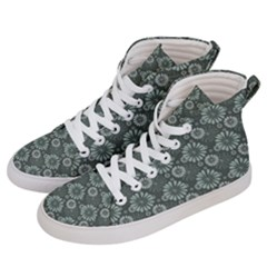 Flowers Delight Green Men s Hi Top Skate Sneakers by TimelessFashion