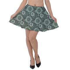 Flowers Delight Green Velvet Skater Skirt by TimelessFashion