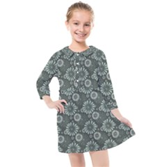 Flowers Delight Green Kids  Quarter Sleeve Shirt Dress by TimelessFashion