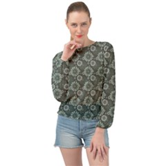 Flowers Delight Green Banded Bottom Chiffon Top by TimelessFashion