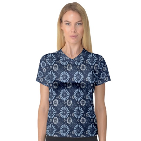 Flowers Delight Blue V-neck Sport Mesh Tee by TimelessFashion