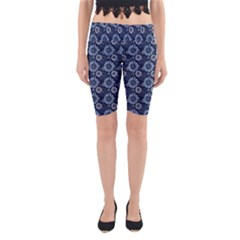 Flowers Delight Blue Yoga Cropped Leggings by TimelessFashion