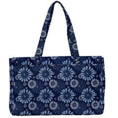 Flowers Delight Blue Canvas Work Bag