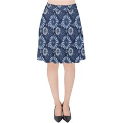 Flowers Delight Blue Velvet High Waist Skirt by TimelessFashion