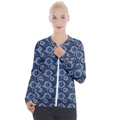 Flowers Delight Blue Casual Zip Up Jacket