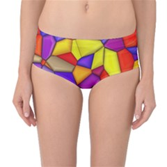 Funny Mosaic Mid Waist Bikini Bottoms by TimelessFashion