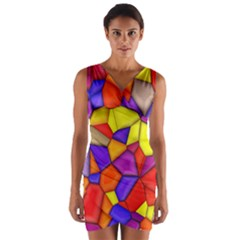 Funny Mosaic Wrap Front Bodycon Dress by TimelessFashion
