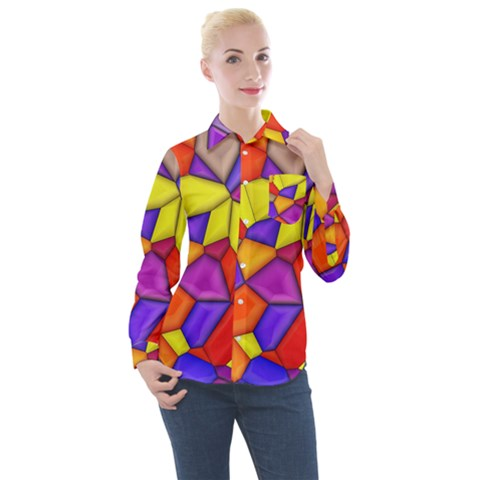Funny Mosaic Women s Long Sleeve Pocket Shirt by TimelessFashion