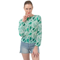 Green Drops Banded Bottom Chiffon Top by TimelessFashion